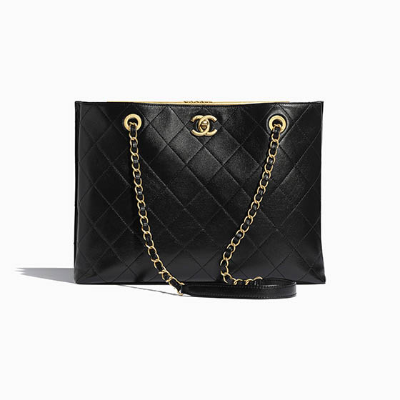 Chanel black leather tote best luxury brands - Luxe Digital