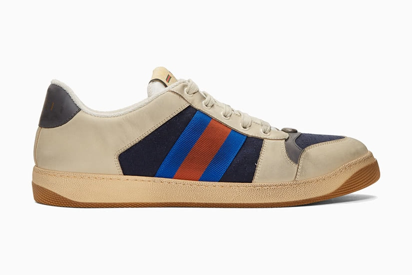 Gucci off-white and navy GG screener men vintage sneakers - Luxe Digital