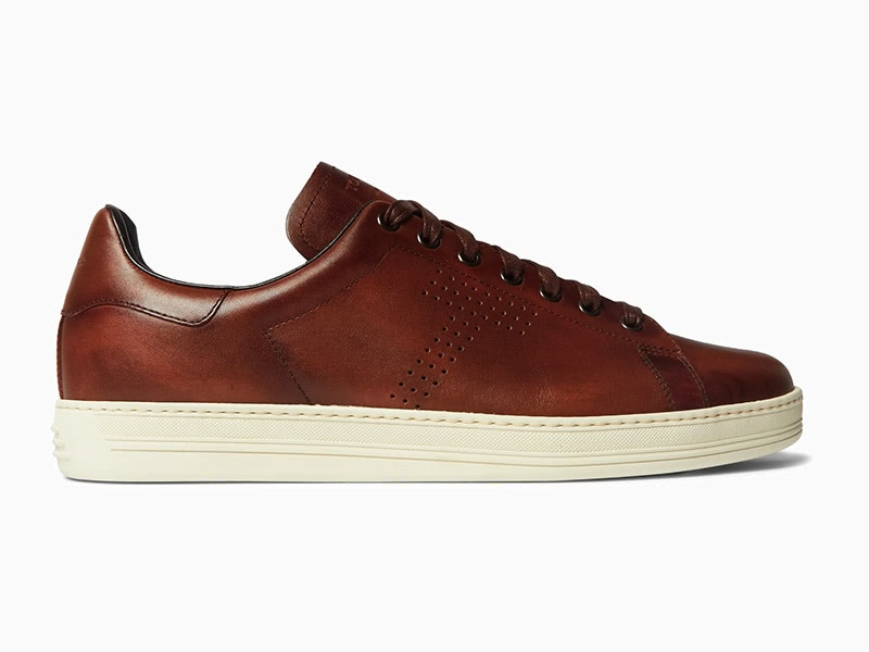 Tom Ford Warwick burnished leather sneakers stylish - Luxe Digital